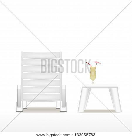 lounger, table and cocktail eps10 vector isolated on white