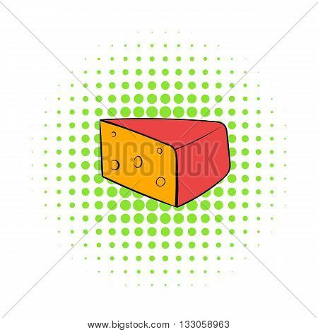 Triangular piece of cheese icon in comics style on a white background