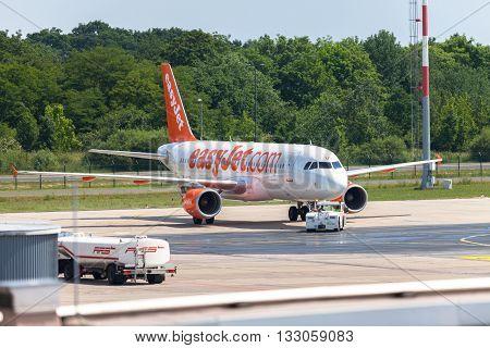 BERLIN / GERMANY - JUNE 4 2016: Airbus A 320 - 214 from easyJet on airport Schoenefeld Berlin / Germany on june 4 2016