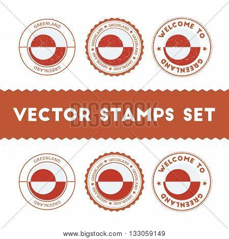 Greenlandic Flag Rubber Stamps Set. National Flags Grunge Stamps. Country Round Badges Collection.