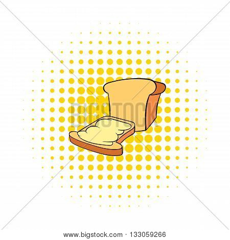 Bread and butter icon in comics style on a white background