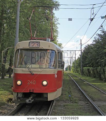 Driver Is Driving Tramway In Yekaterinburg, Russia