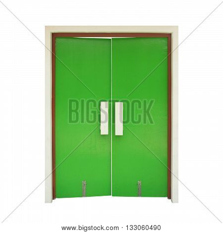 green door isolated on white color backgrond