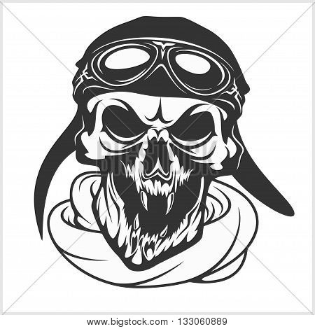 hell pilot - skull with helmet and glasses. Isolated on white