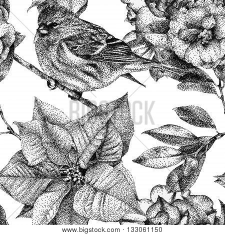 Seamless pattern with different flowers birds and plants drawn by hand with black ink. Graphic drawing pointillism technique. Can be used for pattern fills wallpapers web page surface textures