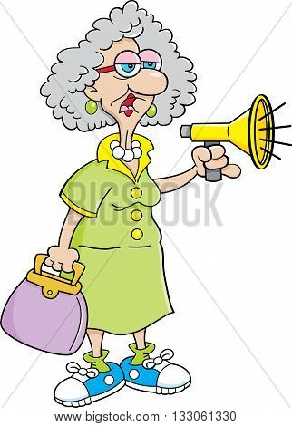 Cartoon illustration of an old lady shouting into a megaphone.