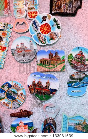 OHRID MACEDONIA - JUNE 05 2016:Souvenirs from Ohrid and Ohrid lake Macedonia . Ohrid is well known tourist destination on the Balkans.