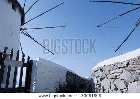 Windmills with blue sky in Mykonos Island Cyclades Greece