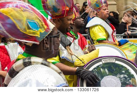 Paris France-June 04 2016 : The exotic drummers participant in Tropical carnival in Paris France.
