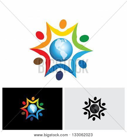 Vector Graphic Icon Of People Joining Together With A Center World Icon