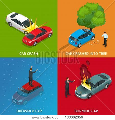 Crush car, drowned car, burning car, car crushed into tree. Traffic Accident. Flat 3d vector isometric illustration