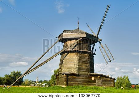 Suzdal, Russia - August 29, 2009: Museum of wooden architecture. Old wooden windmill
