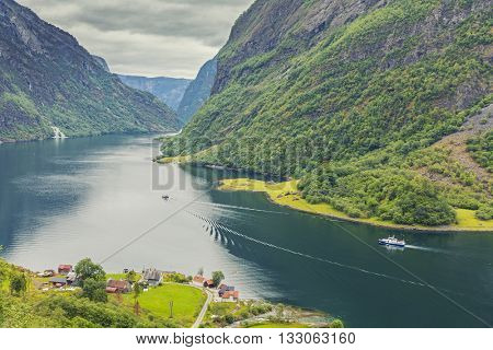 Beautiful scene of mountain and fjord, Neroy Fjord, Flam, Norway