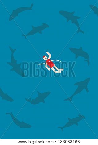 swimming with sharks workplace politics power play metaphor vector illustration