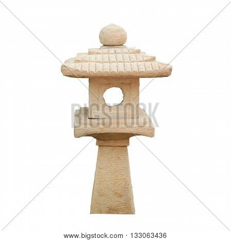 Japanese stone lamp isolated on white color backgrond