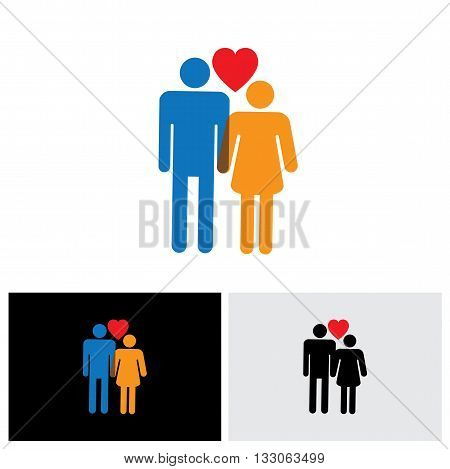 Young Couple Of Lovers Vector Icon ( Symbol ) With Heart Sign Of Boy & Girl Or Husband And Wife Or B