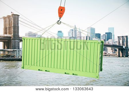 Green Cargo Container On Hook