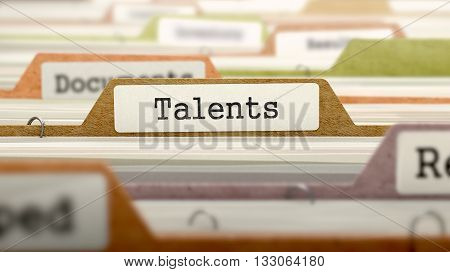 Talents Concept on File Label in Multicolor Card Index. Closeup View. Selective Focus. 3D Render.
