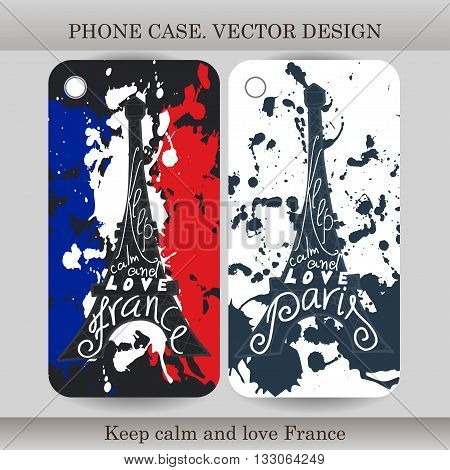 Phone case cover with hand drawn France illustration. Design with flag building and lettering for gadget. Vector illustration