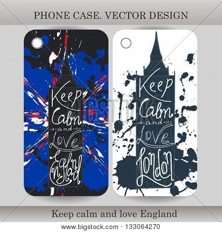 Phone case cover with hand drawn England illustration. Design with flag building and lettering for gadget. Vector illustration