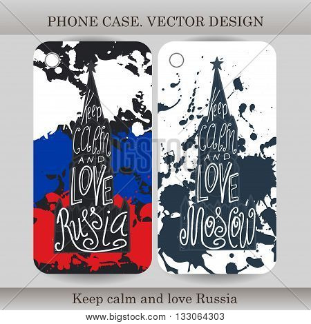 Phone case cover with hand drawn Russia illustration. Design with flag building and lettering for gadget. Vector illustration