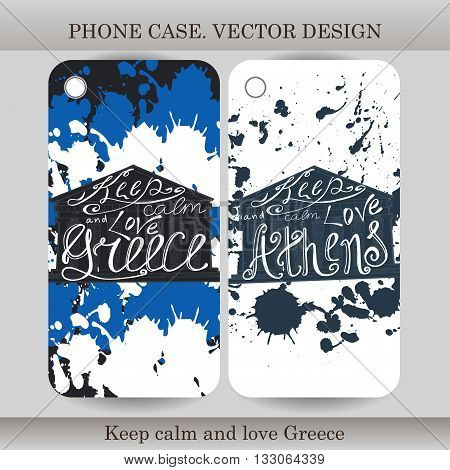 Phone case cover with hand drawn Greece illustration. Design with flag building and lettering for gadget. Vector illustration