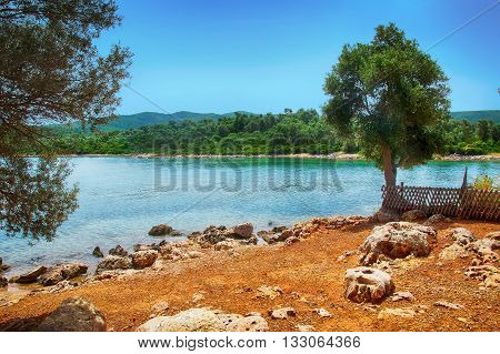 Marmaris Beach Beautiful Blue Sea On Mountains Background
