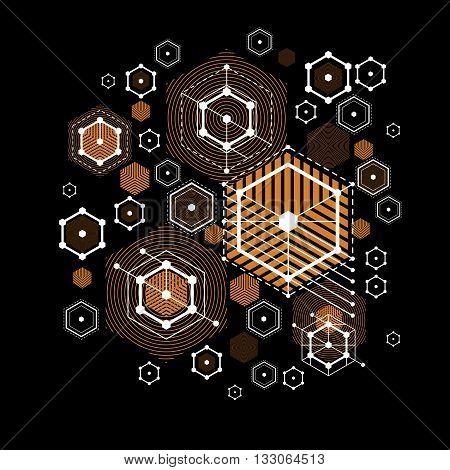 Bauhaus retroart vector background made using grid circles and rhombuses. Geometric graphic 1960s illustration can be used as booklet cover design. Technological pattern.