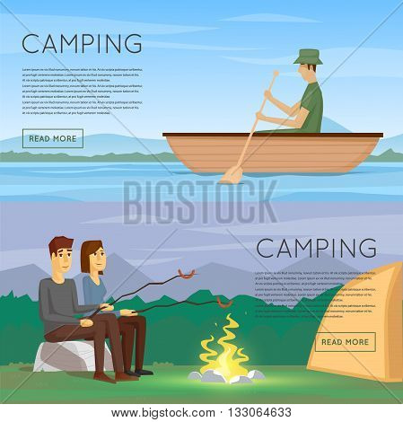 Hiking and outdoor forest camping with tourist tent and fire. Boy and girl are fried sausages on fire. Man floating in a boat. Summer night landscape with the river. Flat design vector illustration.