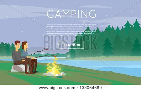 Hiking and outdoor forest camping with tourist tent and fire. Boy and girl are fried sausages on fire. Summer night landscape with the river. Flat design vector illustration.