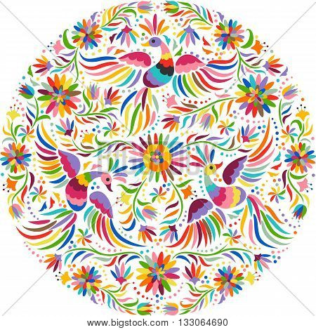 Mexican embroidery round pattern. Colorful and ornate ethnic pattern. Birds and flowers light background. Floral background with bright ethnic ornament.