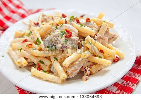 Penne pasta and chicken breasts with herbs and creamy sauce