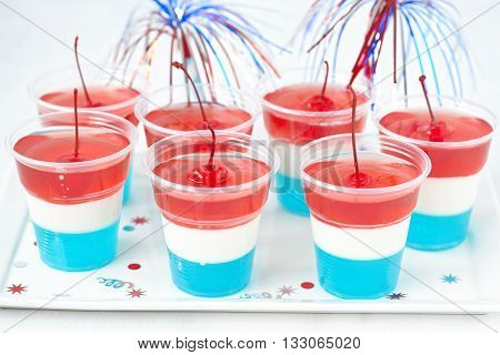 Striped firecracker jello shots for 4th july