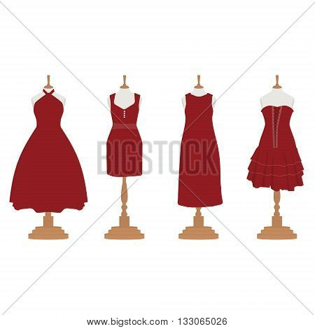 Vector illustration set of four red bordo different design elegant cocktail and evening woman dresses on mannequin for boutique.