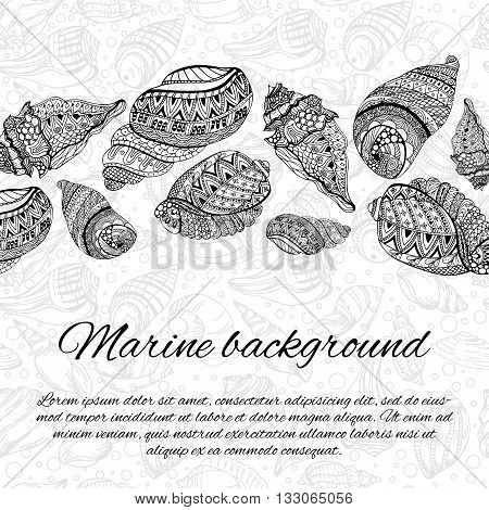 Postcard design with sea shells. Hand drawn vector illustration. Sketch sea shells elements with ornaments. Ocean background