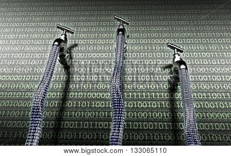 Concept Of Leaky Software, Data With A Tap Sticking Out