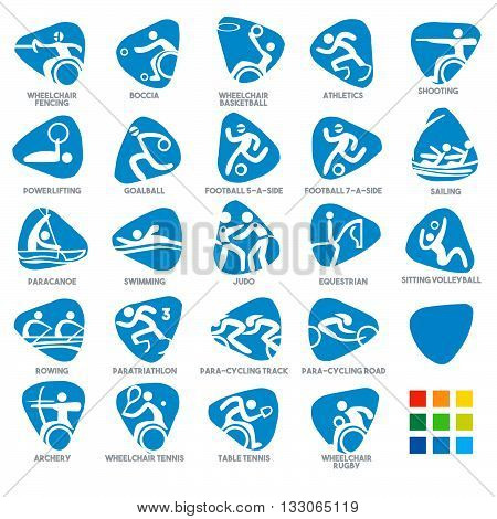 games, athlete, Championship, International, Competition, sporting, Summer Sport Icon Pictograms. Flat concept design Set stick figure vector illustration