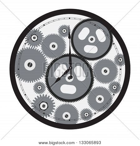 Vector illustration cogs and gears of clock. Antique clock with metal parts and cogs.