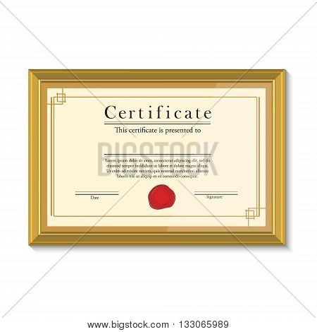 Vector illustration of certificate template with red wax stamp in golden picture frame. Certificate border. Modern certificate