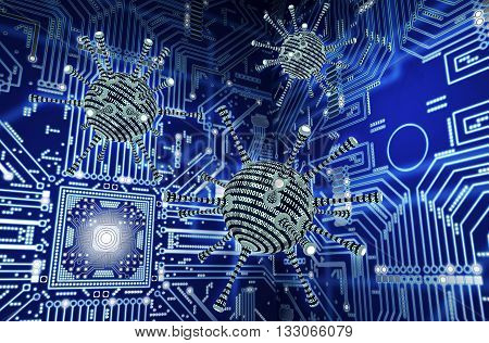 Digital Safety Concept Computer Virus In Electronic Environment