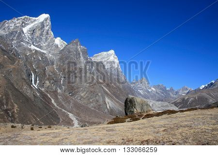 Beautiful towering Himalayas mountain peaks stretching forth from grassy plain under beautiful blue sky with copy space