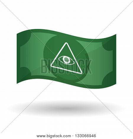 Illustration Of A Waving Bank Note With An All Seeing Eye