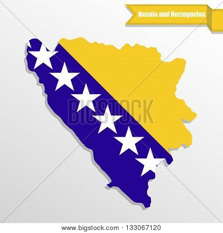 Bosnia and herzegovina map with flag inside and ribbon