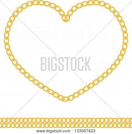 Illustration of jewelry golden chain of heart shape