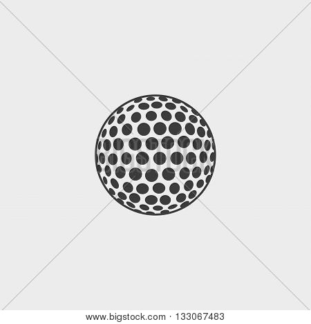 Golf ball icon in a flat design in black color. Vector illustration eps10