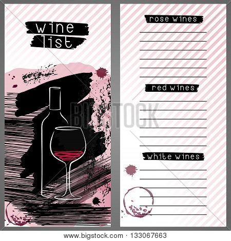 Template for wine list or wine tasting. Wine bar menu card in grunge style. Design concept with wine bottle and glass.
