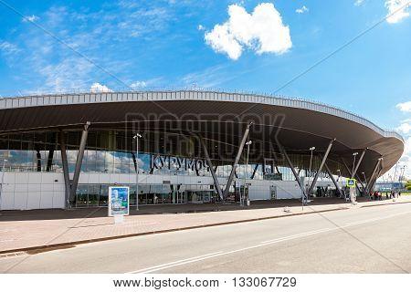SAMARA RUSSIA - MAY 22 2016: View on Samara Kurumoch Airport in summer sunny day