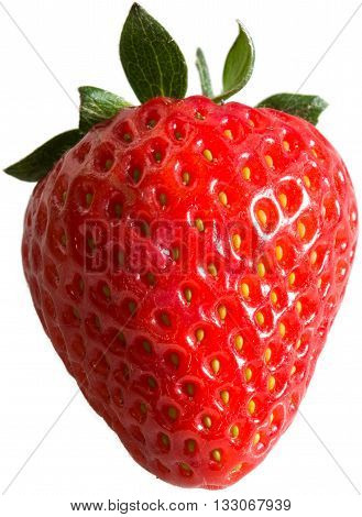 Strawberry - A single strawberry with a transparent background.