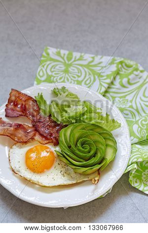 Fried Egg, Bacon and Avocado Rose. Low carb high fat breakfast