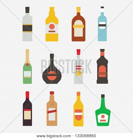 Alcoholic bottle vector icon set. Bottle with alcohol isolated on white background. Alcoholic drinks in a modern flat style. A collection of popular alcoholic beverages. Alcoholic bottle design.
